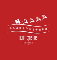 Merry christmas elements santa sleigh red vector