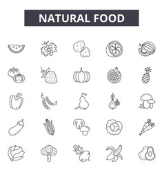 Natural food line icons signs set vector