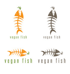 negative space concept fish skeleton and carrot vector image