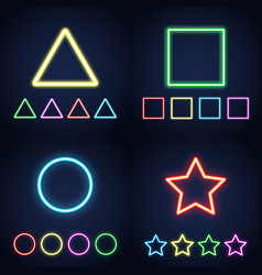 neon ring star square and triangle set vector image
