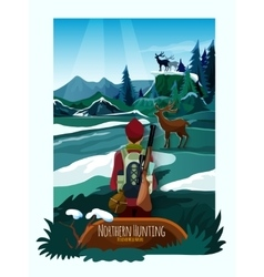 Northern landscape nature hunting poster print vector