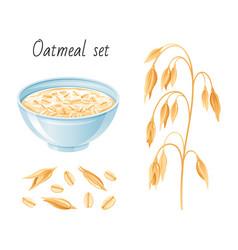 oat meal set bowl oatmeal ear flake breakfast vector image