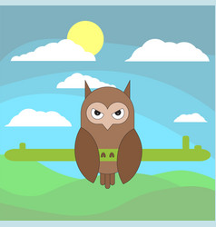 Owl in cartoon flat style on background of vector