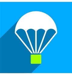 Parachute Flat Square Icon with Long Shadow vector
