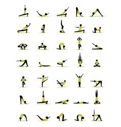 People practicing yoga poses for your design vector