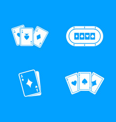 playing cards icon blue set vector image