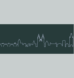 Prague single line skyline vector