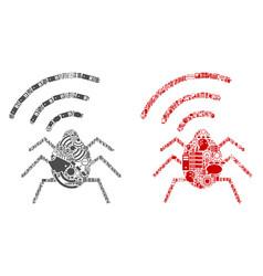 Radio bug mosaic icons for bigdata vector