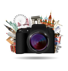 real compact travel camera with world landmark vector image