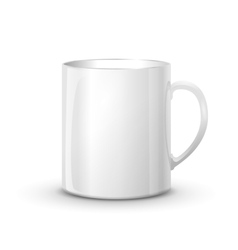 Realistic glossy white cup with shadow vector image