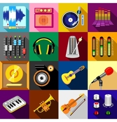 Recording studio symbols icons set flat style vector
