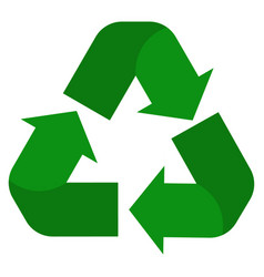 recycle icon on white background green recycle vector image