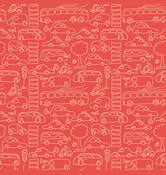 Red seamless transport pattern vector