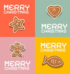Retro Christmas Heart Fish Star and Gingerbread vector image