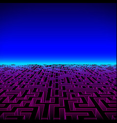 Retro gaming hipster neon landscape with labyrinth vector