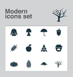 season icons set with tree oak nut stump and vector image