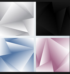 set abstract background 3d white gray black vector image