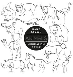 Set animals in hand drawn minimalism style vector