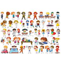 set doodle kids character vector image