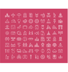 Set flat line icons travel and adventure vector