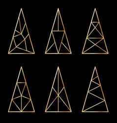 Set of graphic stylized christmas trees on black vector