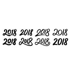 Set of new year 2018 calligraphy numbers vector
