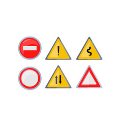 set of round and triangle road signs isolated on vector image