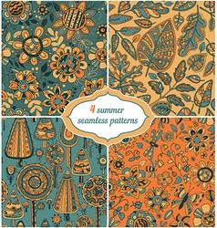 set summer backgrounds - floral seamless vector image