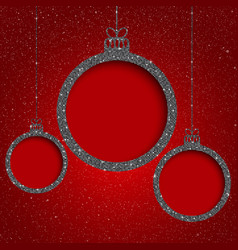 silver sequin frame star sky christmas ball vector image