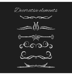 Silver text dividers set Ornamental decorative vector