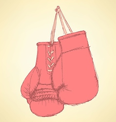 Sketch box gloves in vintage style vector image