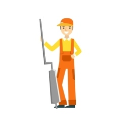 Smiling Mechanic Holding The Muffler In The Garage vector