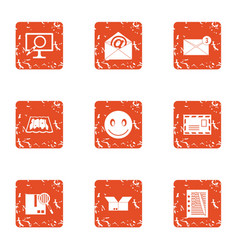 state mail icons set grunge style vector image