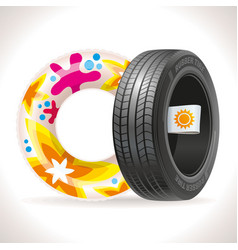 summer tire and rubber ring vector image