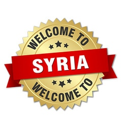 Syria 3d gold badge with red ribbon vector