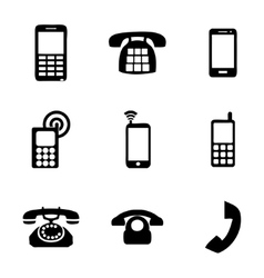 telephone icons set vector image
