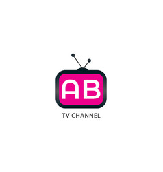 Tv channel rounded logo design template vector