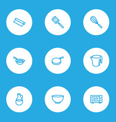 utensil icons line style set with pan microwave vector image