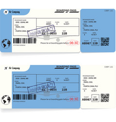 Variants of blue boarding pass airplane tickets vector