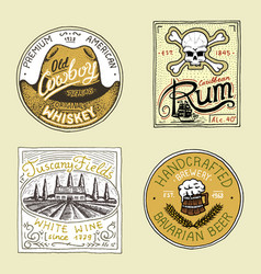 vintage american rum wine whiskey beer badge vector image