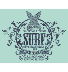 Vintage california longboard surfing contest vector