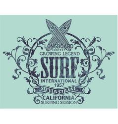 vintage california longboard surfing contest vector image