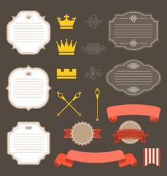 vintage labelsribbon and decoration set 4 vector image