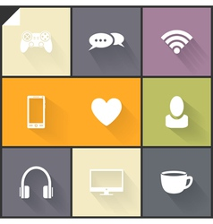 White flat icons vector image