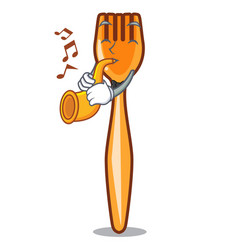 with trumpet plastic fork on use for mascot vector image