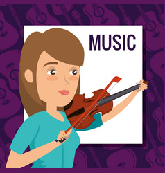 woman playing fiddle character vector image