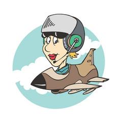 women pilot ridding plane vector image