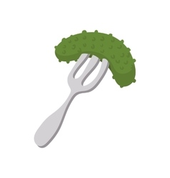 Salted cucumber on a fork icon in cartoon style vector image