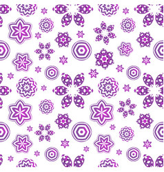 seamless pattern with violet geometrical flowers vector image
