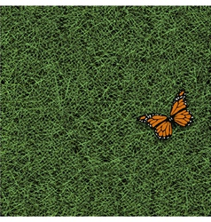 Stylized grass and butterfly vector image